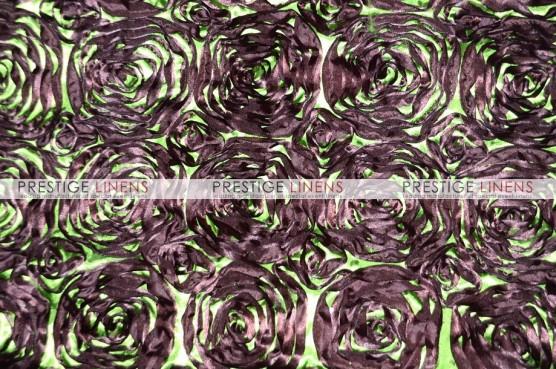 Rosette Satin Table Runner - Brown/Lime